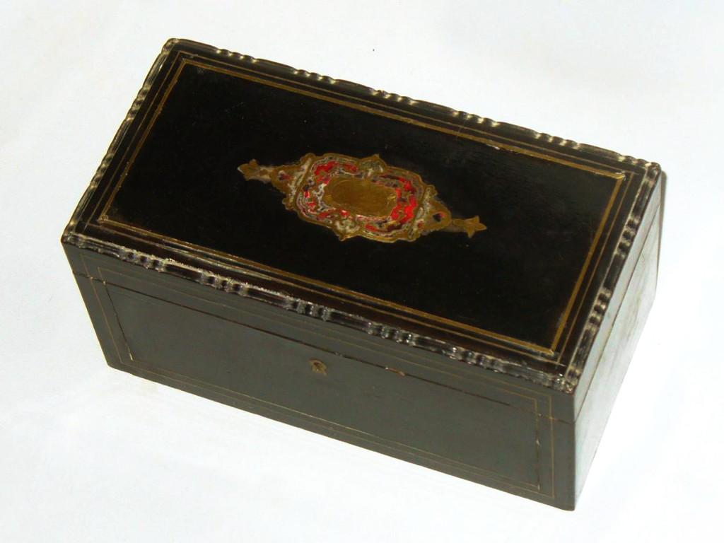 coffret en bois noirci ecaille de tortue marqueterie boulle cave th boite napoleon iii. Black Bedroom Furniture Sets. Home Design Ideas