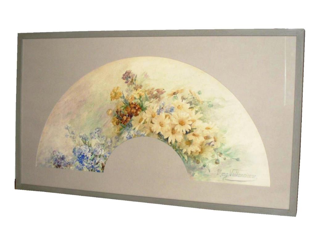 Projet d'Eventail Encadré , Aquarelle d'époque Art Nouveau , Decor De Fleurs 1910 éventail