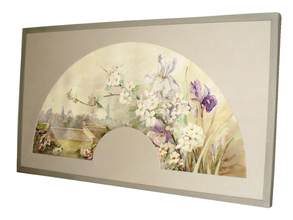 Projet d'Eventail Encadré , Aquarelle d'époque Art Nouveau , Decor d'Iris 1910 éventail