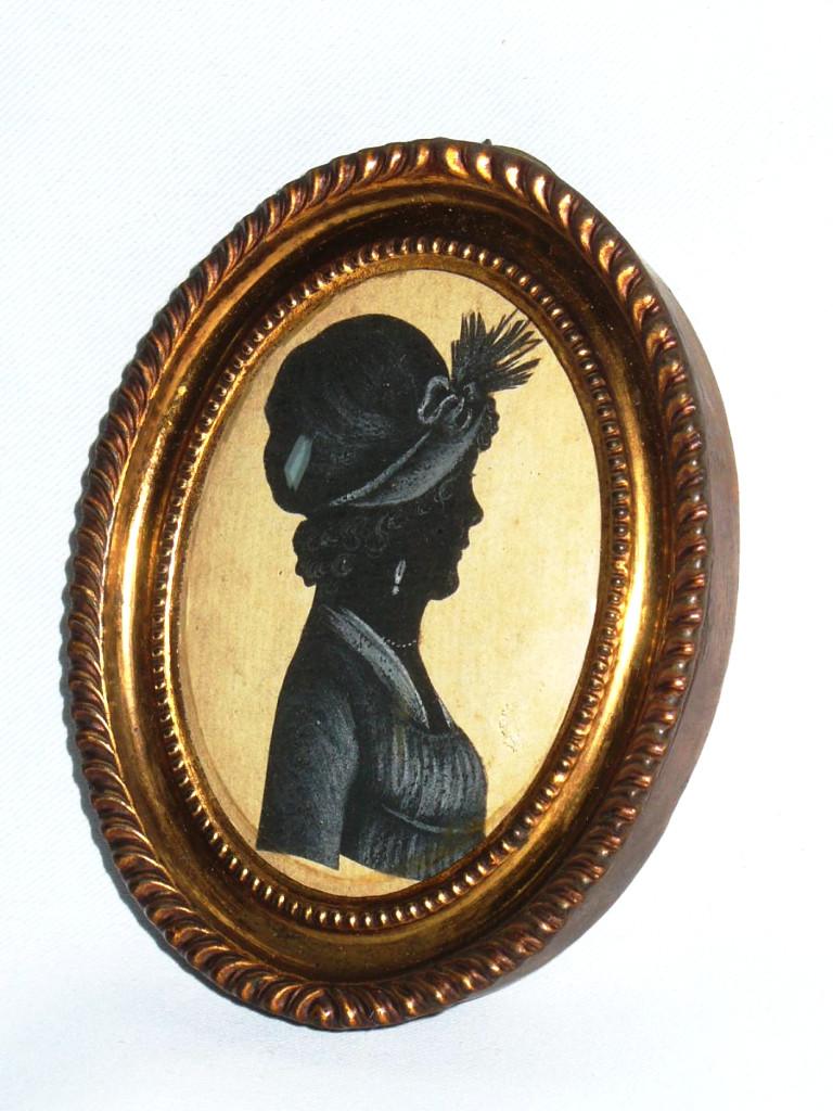 Miniature d'époque Directoire , Profil En Noir , Gouache XIXe , Portrait De Femme
