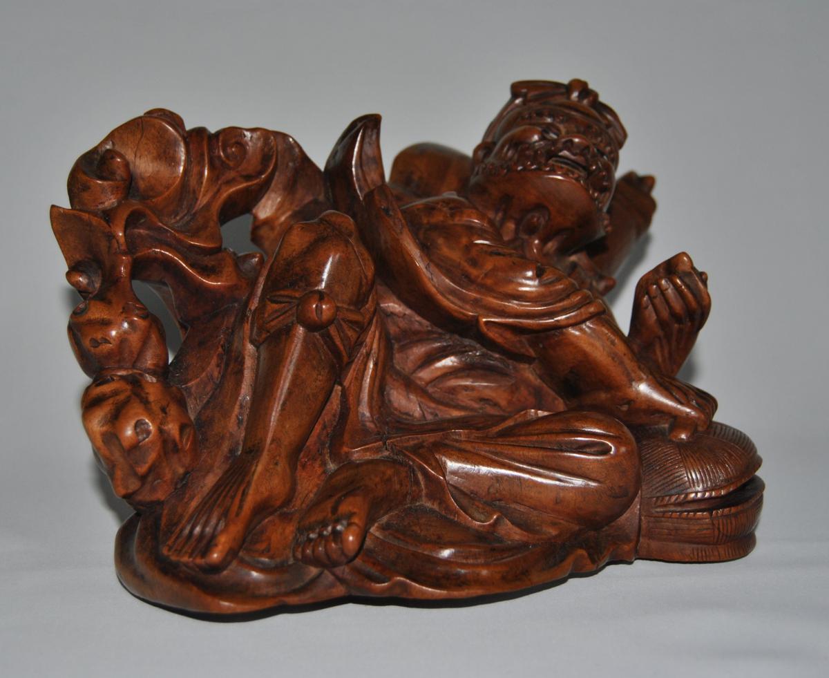 Grande Sculpture Japonaise XIXe , Pecheur à La Nasse ; Yeux En Sulfure , Art d'Asie