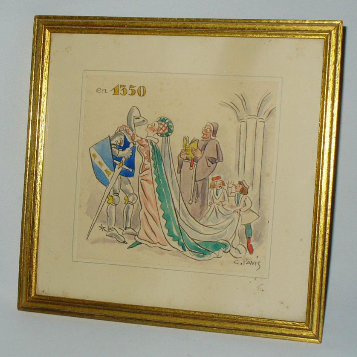 Aquarelle Encadrée , Oeuvre De l'Artiste George Alfred Pavis , Moyen Age , Chevalier 1930