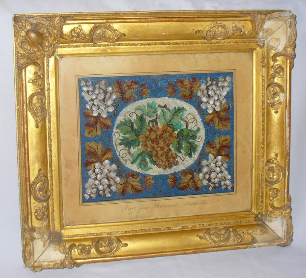 Bead Embroidery Frame Charles X Period, Wooden Framing & Stucco Gilded, Folk Art