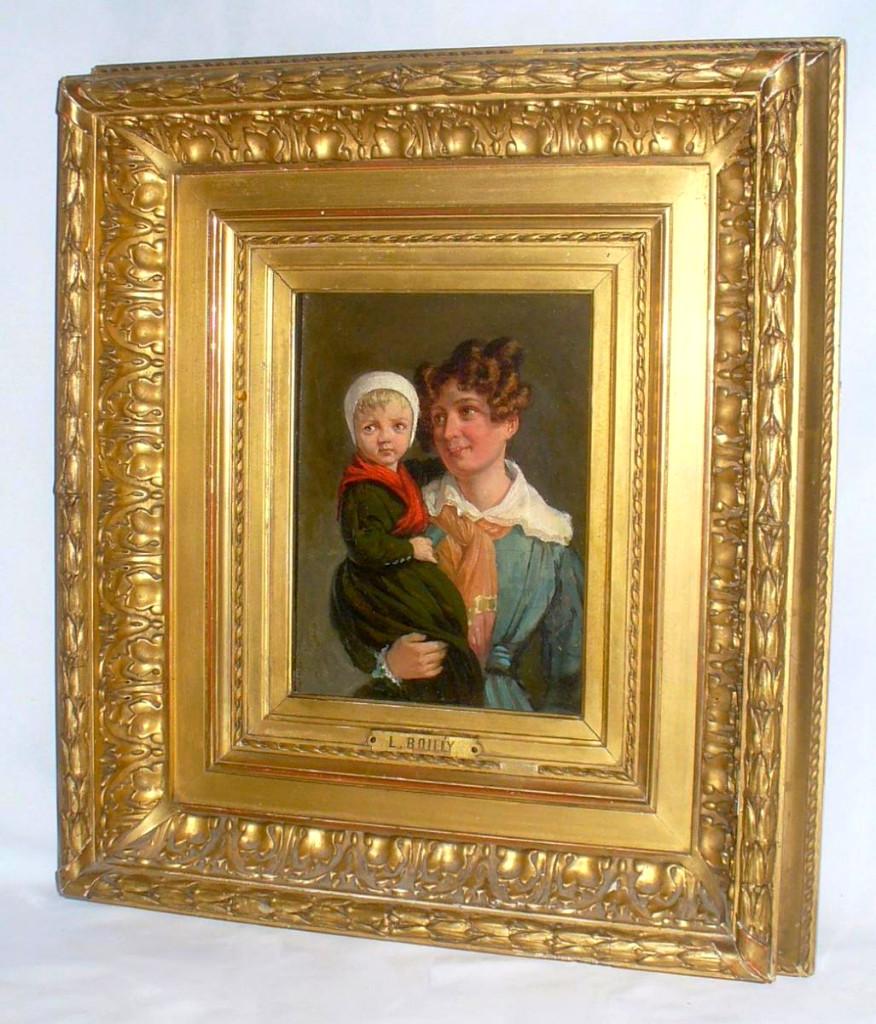 Tableau / Huile Sur Panneau , Scène De Maternité , Mère Et Enfant , Louis Leopold Boilly 1835