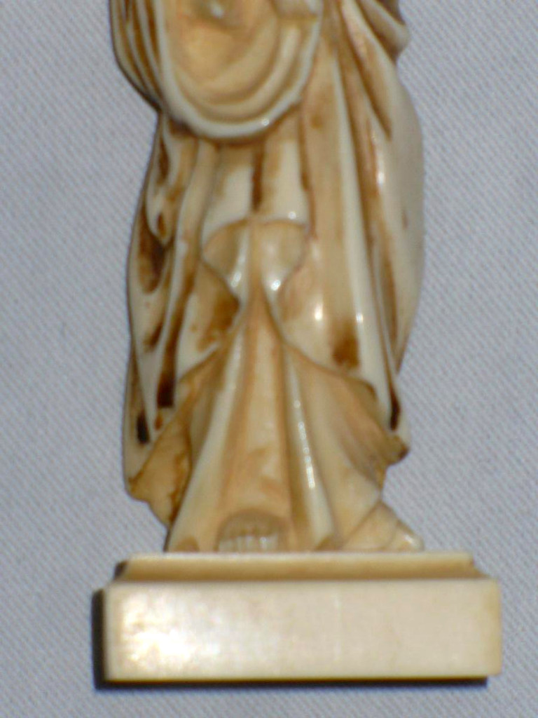 Figurine In Ivory, Madonna And Child, Sculpture Debut 20th Century-photo-4