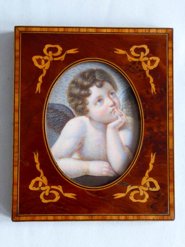 Peinture Miniature Sur Ivoire , Angelot d'Après Raphael Cadre En Marqueterie XIXe Napoléon III