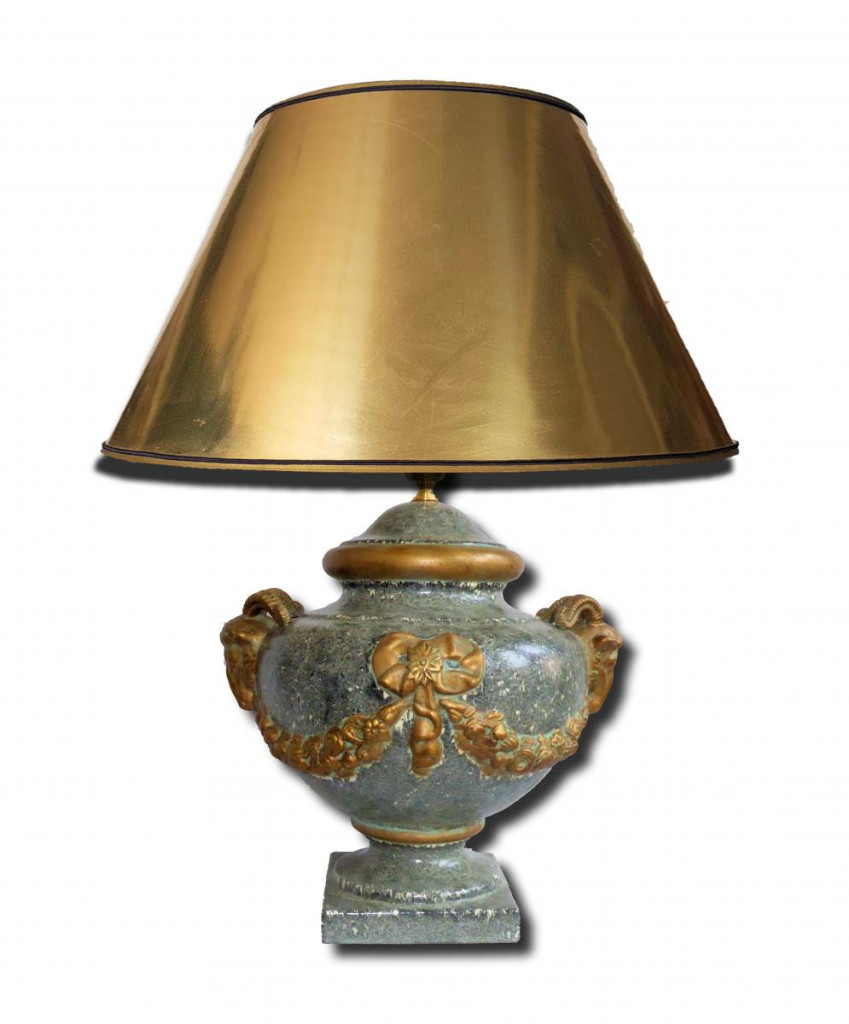 Large Table Lamp Enamelled Terracotta Style Louis XVI Head Of Belier, Possible Pair