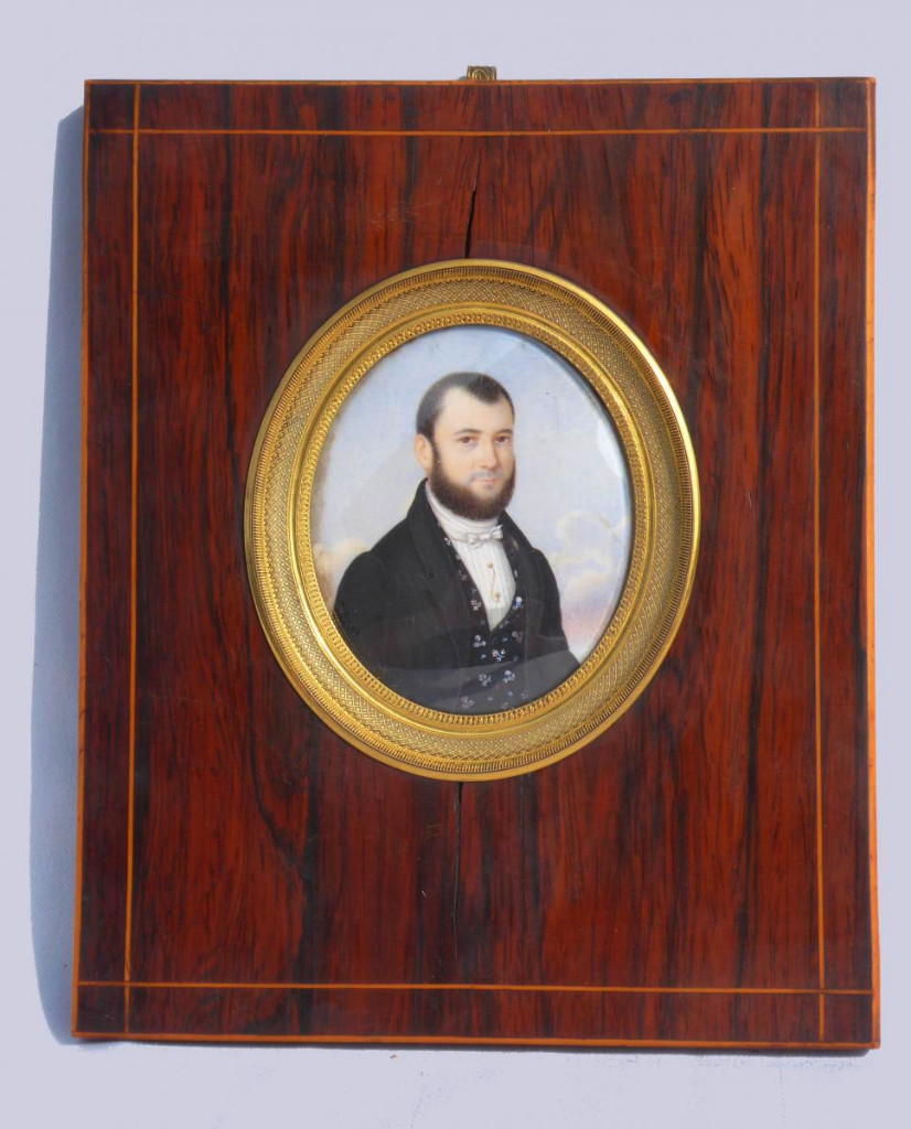 Large Miniature Painted On Ivory, Portrait Of Young Man Around 1830, Rosewood Frame Nineteenth