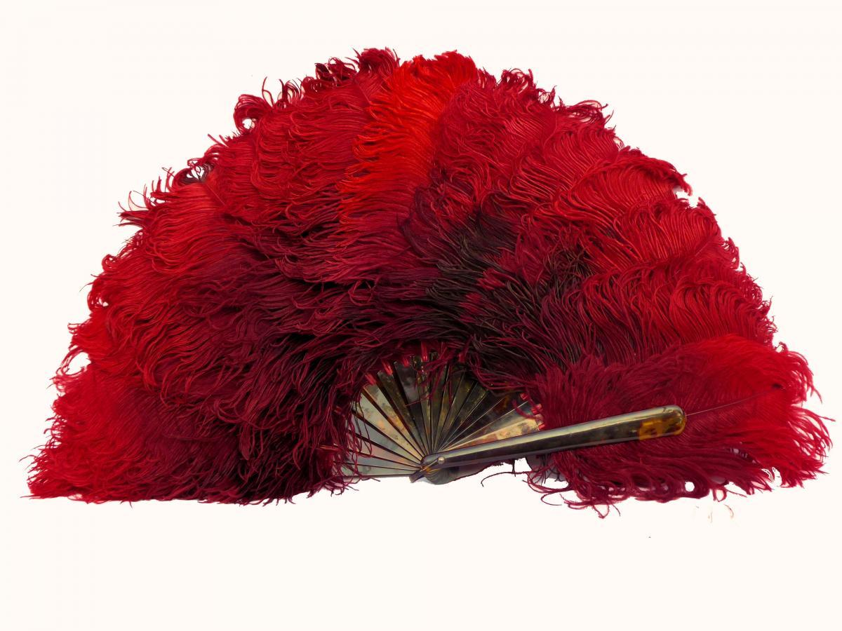 Grand éventail XIXE Plumes d'Autruche Rouge Monture écaille De Tortue Eventail accessoire mode
