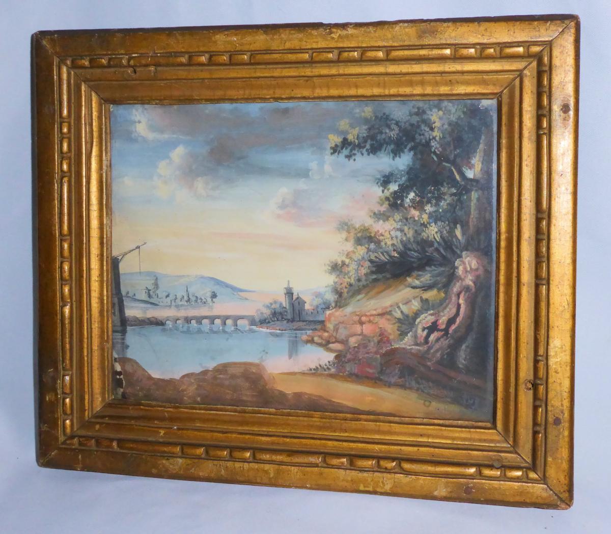 Gouache d'époque Empire Encadrement Bois Doré Paysage Pont Debut XIXe Tour De Marlborough