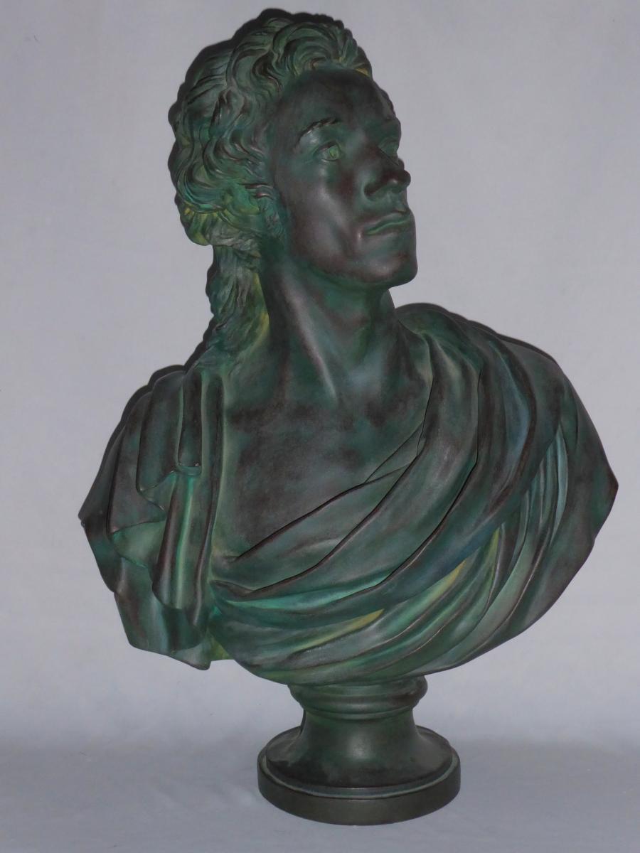 Buste d'Antoine Barnave d'Aprés Jean Houdon , Plâtre d'Atelier Patine Bronze , XIXe Platre 1790
