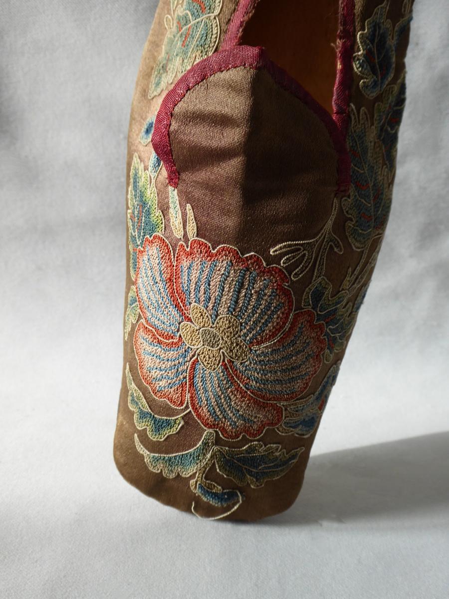 Chaussure En Soie Brodée époque 1820 , Ballerine Début XIXe Siecle , Chaussures Souliers -photo-3
