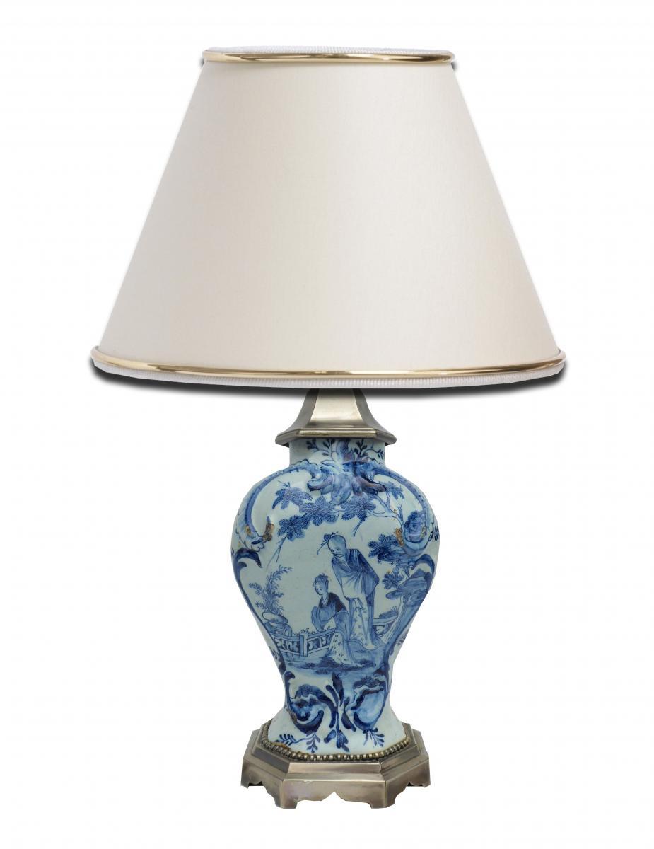 Lampe De Table Faience De Delft époque XVIIIe Siècle Décor Au Chinois Métal Argenté Céramique