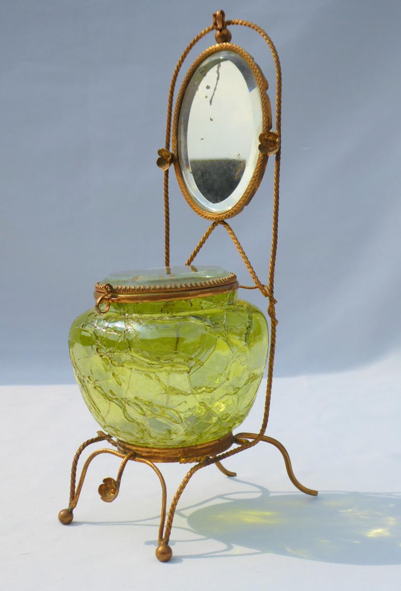 Large Jewelry Box, Door Watch Iridescent Glass / Cracked Loetz / Kralik Art Nouveau Austria