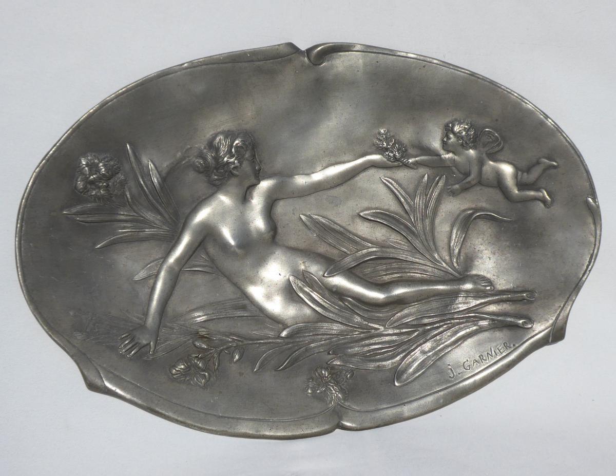 Flat Art Nouveau Era, Nymph And Cherub, Low Relief Pewter, Signed Jean Garnier 1900