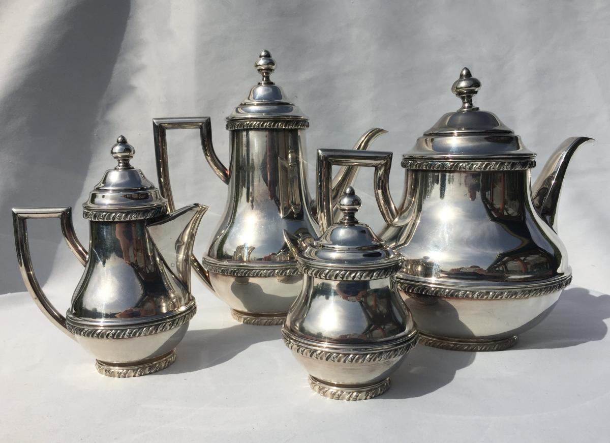 Service Tea / Coffee House Lancel, Silver Metal 1930, Empire Style