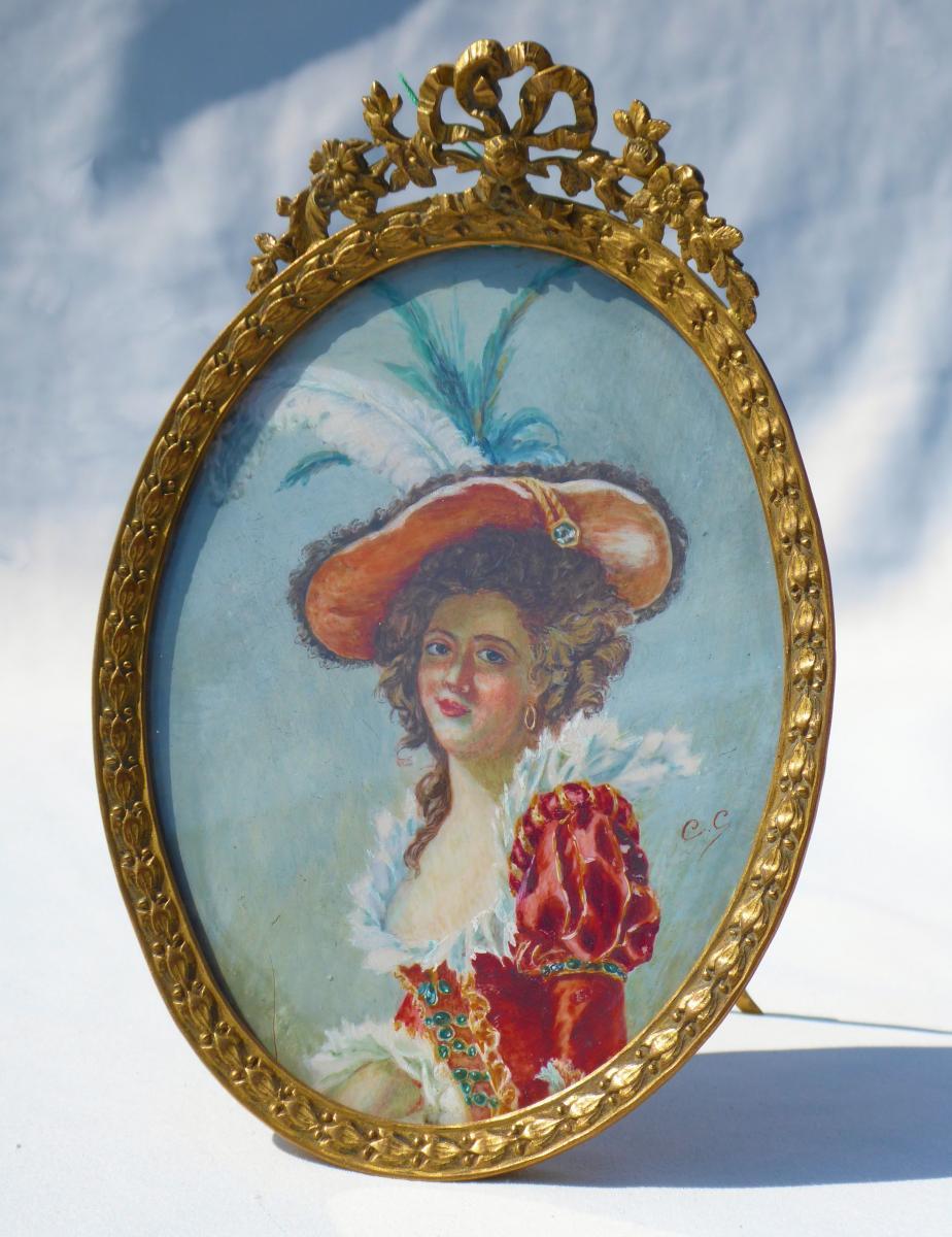 Grande Miniature Sur Ivoire Renaissance Portrait Louise Elisabeth de France fille roi louis Xv