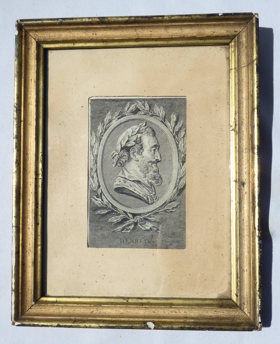 Engraving In Black Representing The Profile Of The King Of France Henry Iv, Bourbon, Eighteenth Century