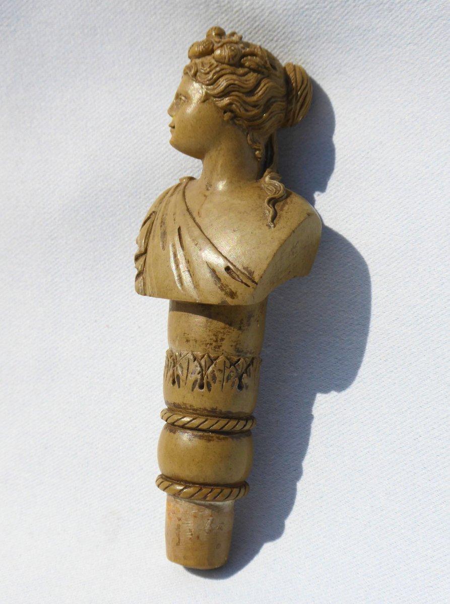 Pommeau De Canne / Ombrelle En Pierre De Lave Souvenir Du Grand Tour , Vésuve Buste Femme XIXe