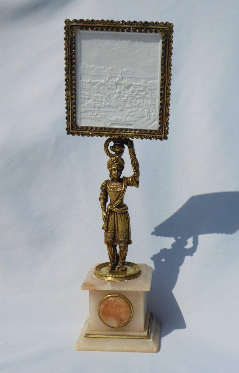 Lithophanie / Pre Cinema Tealight Gilded Bronze Orientalist Decor, Optical Illusion Nineteenth