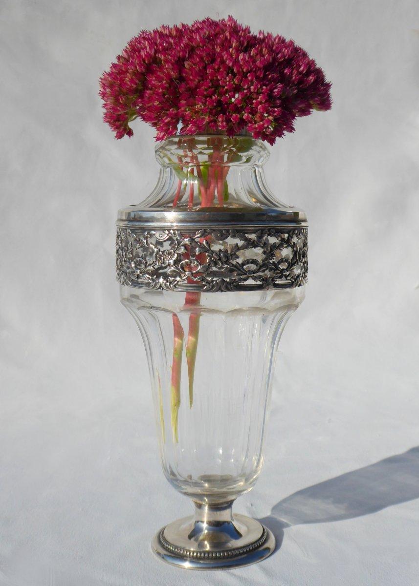 Vase En Cristal Et Argent Massif , Style Louis XVI , Epoque 1900 Poinçon Tête De Minerve