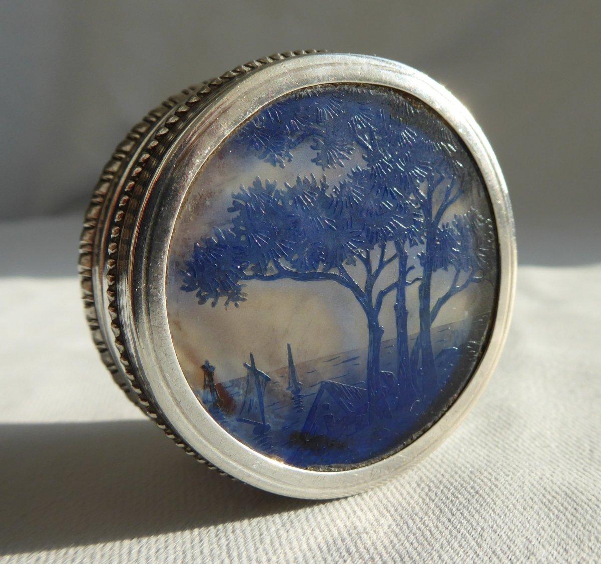 Box Art Nouveau Period Pills Sterling Silver & Art Nouveau Glass Pate Cross Lorraine