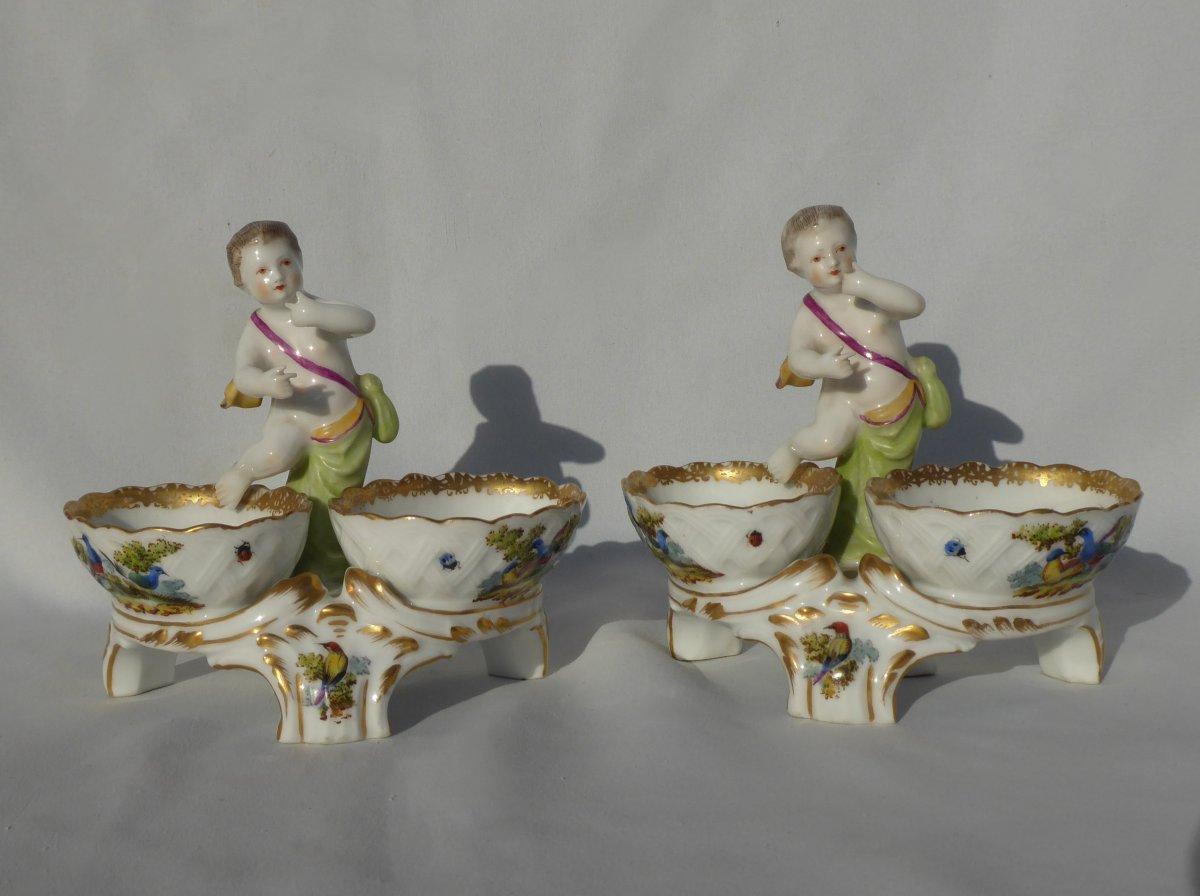 Paire De Salerons En Porcelaine De Paris Style Meissen Samson XIXe Angelot Saleron Napoléon III