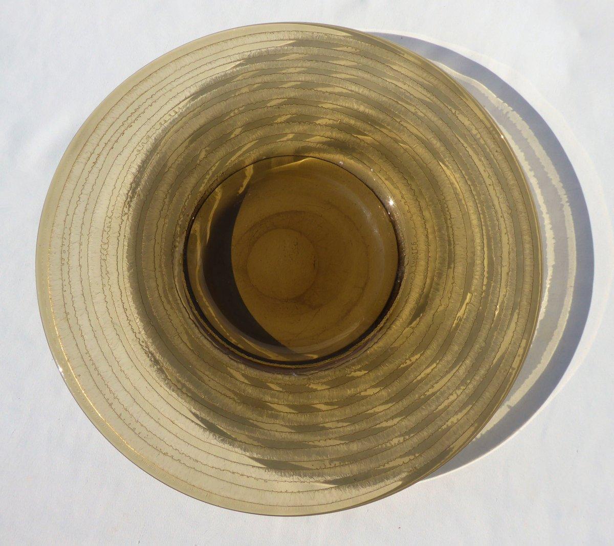 Plat  Circulaire , Coupe  En Verre Degagé à l'Acide Signé Daum Nancy Croix De Lorraine Art Deco