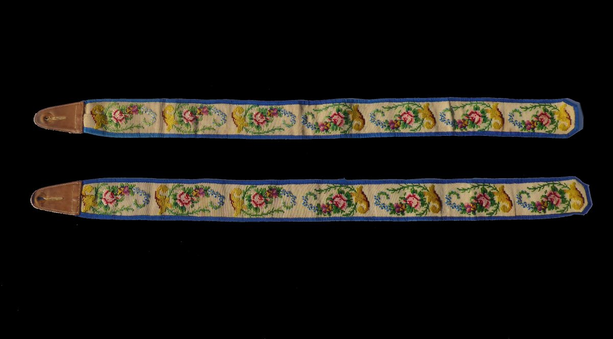 Pair Of Suspenders 1830-1840, Embroidery With Small Points, Nineteenth Male Costume, Fashion-photo-1