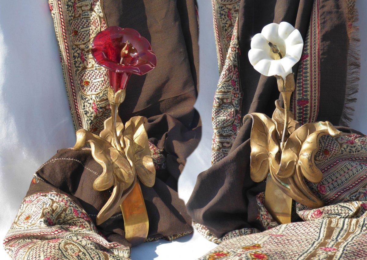 Paire d'Embrasses à Rideaux d'époque Art Nouveau, Embrases XIXe  Décor De Fleur d'Arome Opaline