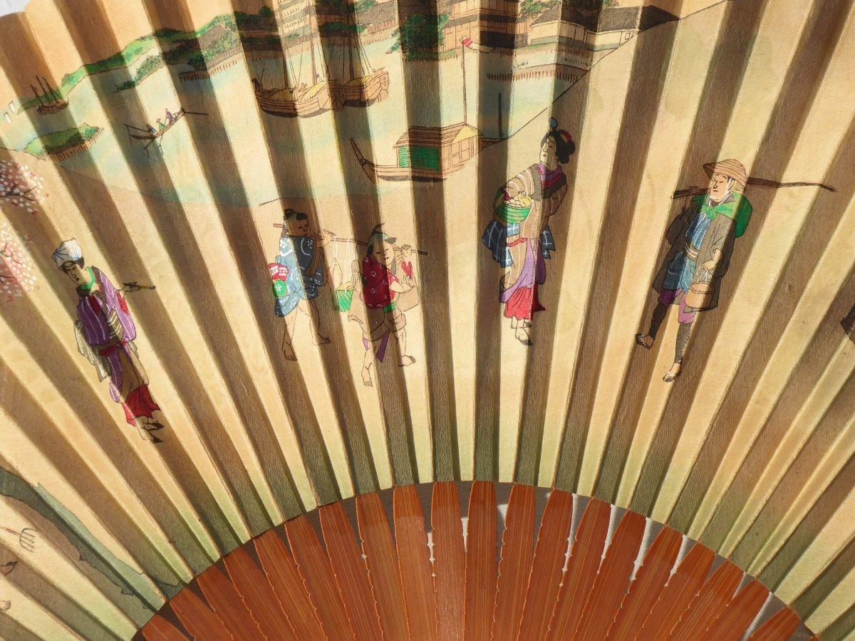 Fan From Japan, Wood Frame, Ivory & Mother Of Pearl 1890 Fan Print Asia XIXth-photo-1