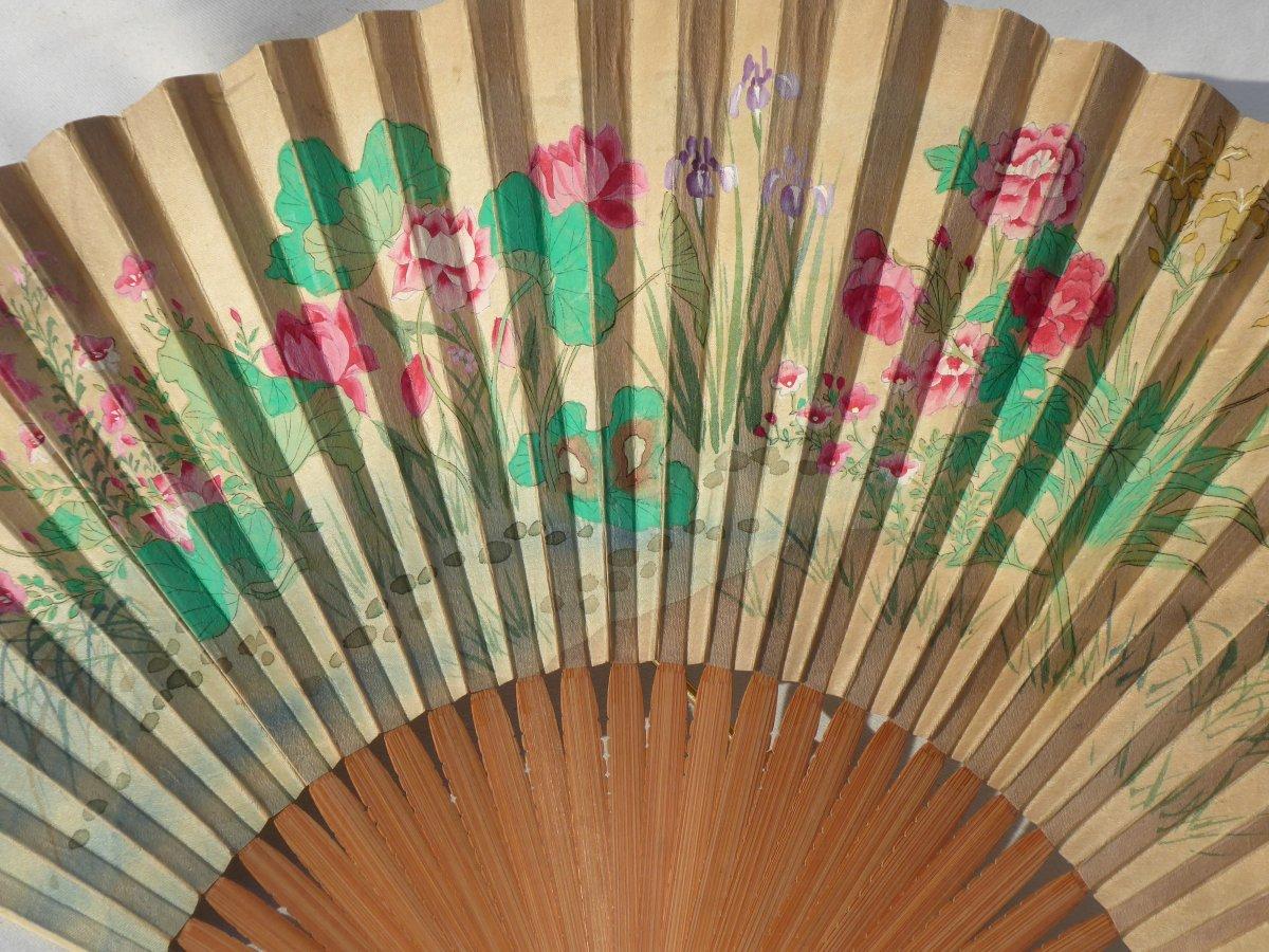 Fan From Japan, Wood Frame, Ivory & Mother Of Pearl 1890 Fan Print Asia XIXth-photo-3