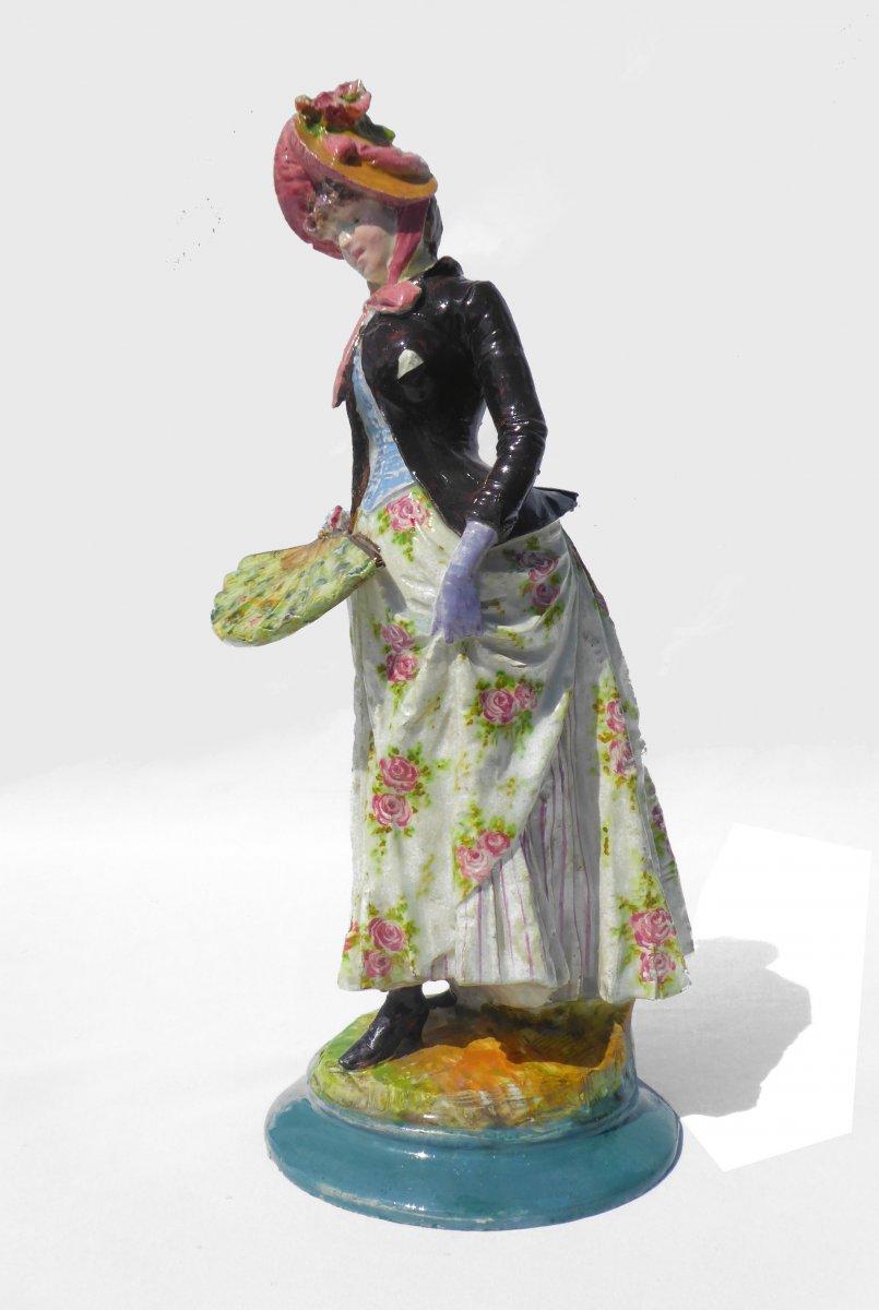 Sculpture Faience Impressionniste Montigny Sur Loing éventail 1880 XIXe Femme En Robe Barbotine