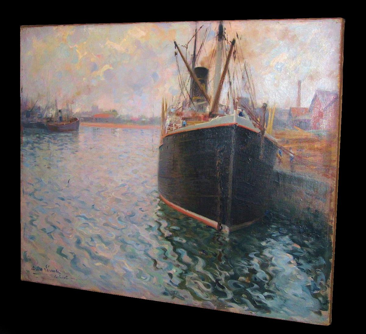 Antique Oil French Sea La Rochelle 1911 Paul Emile Lecomte
