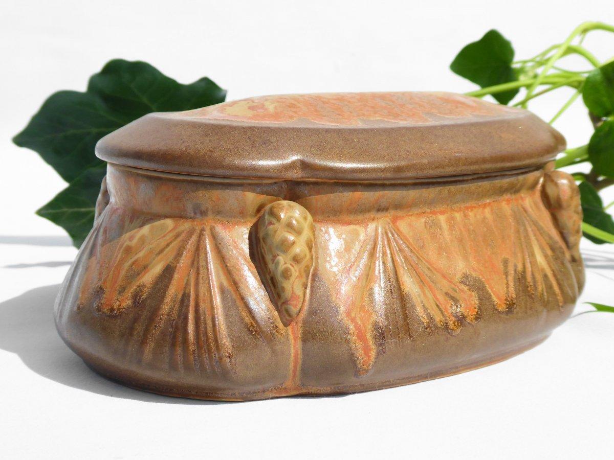 Bonbonniere De Style Art Nouveau Grès De Denbac Boite à Décor De Pommes De Pin Coffret à Bijoux-photo-2