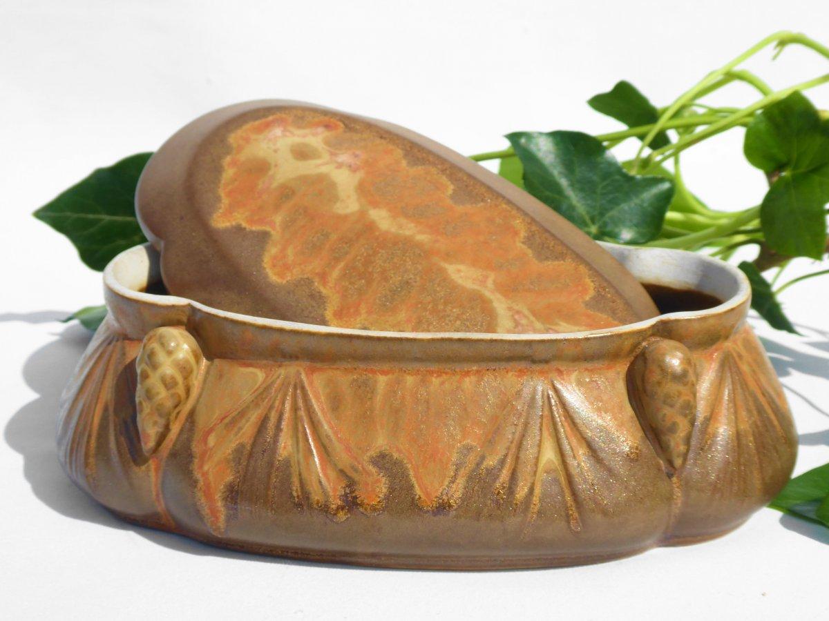 Bonbonniere De Style Art Nouveau Grès De Denbac Boite à Décor De Pommes De Pin Coffret à Bijoux