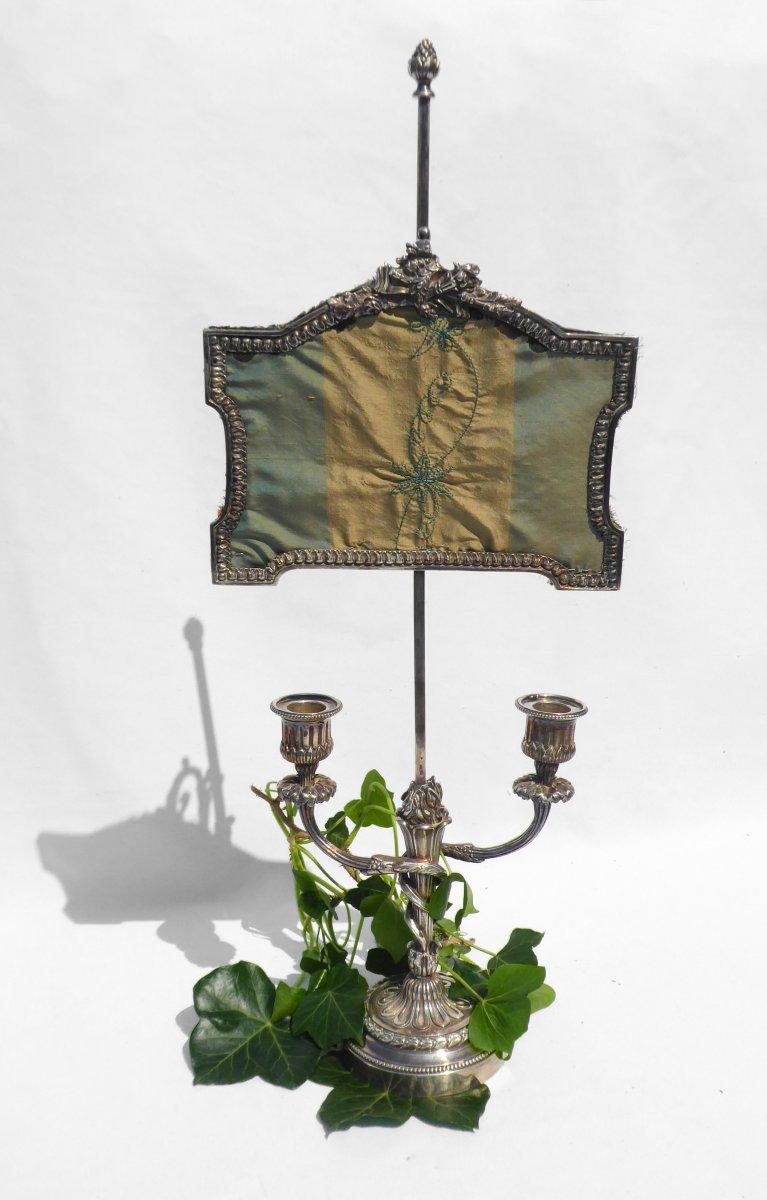 Bougeoir Bronze Argenté Style Louis XVI Pare Flamme / étincelles Napoléon III XIXe Chandelier