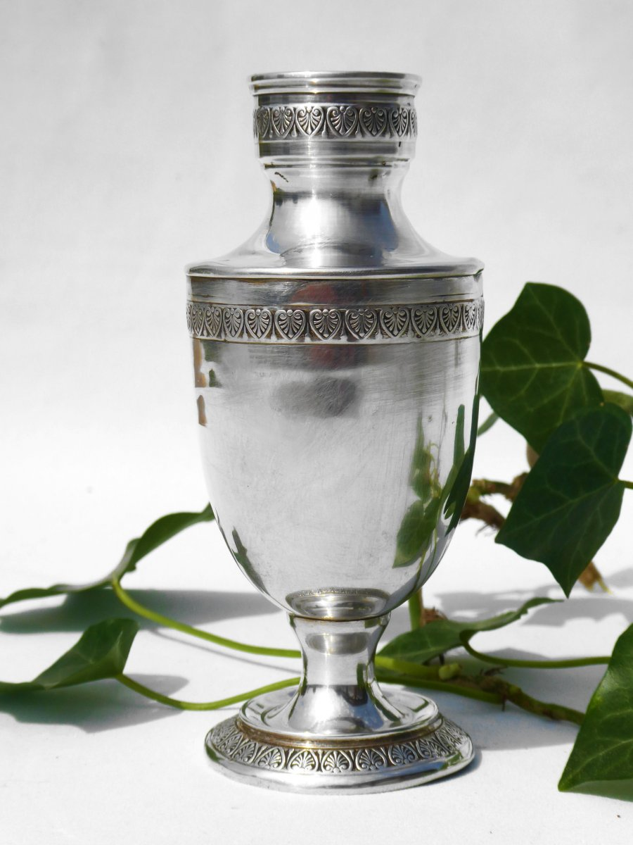 Bulb Vase Baluster In Sterling Silver, First Empire Style, Period 1880 Nineteenth