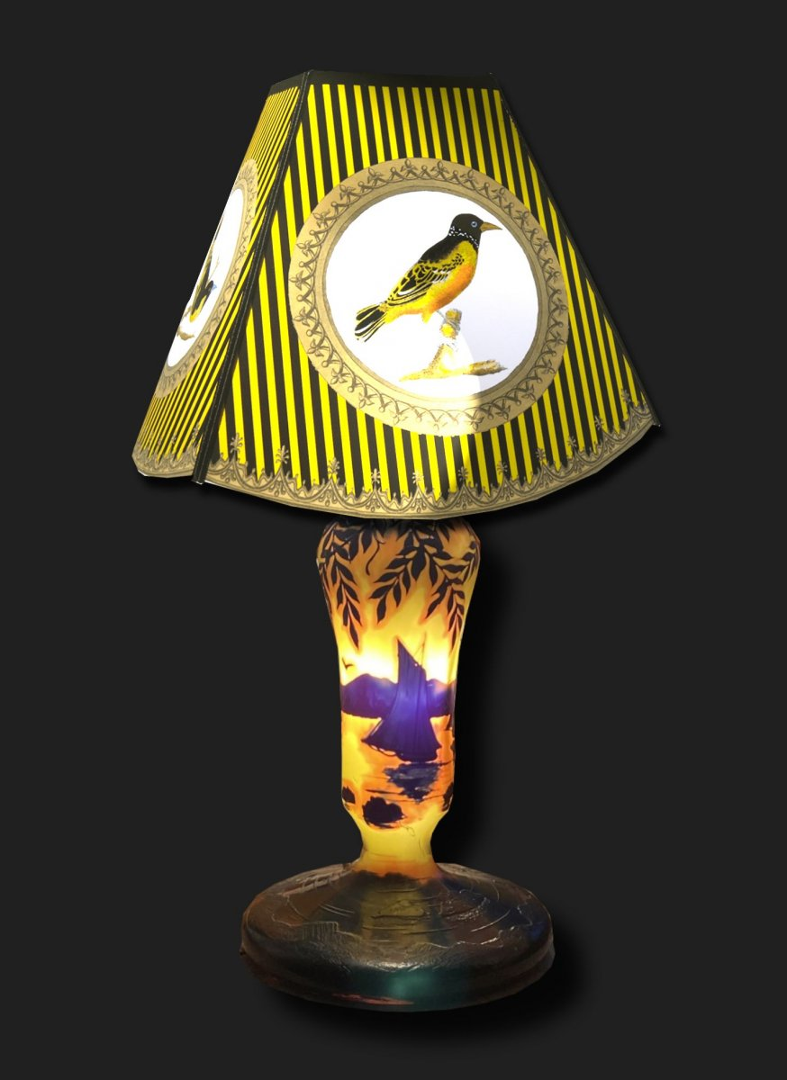 Lampe De Table Art Nouveau , Croix De Lorraine , Michel , Ecole De Nancy Pate De Verre  Acide-photo-5