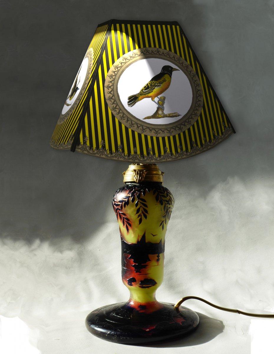 Lampe De Table Art Nouveau , Croix De Lorraine , Michel , Ecole De Nancy Pate De Verre  Acide