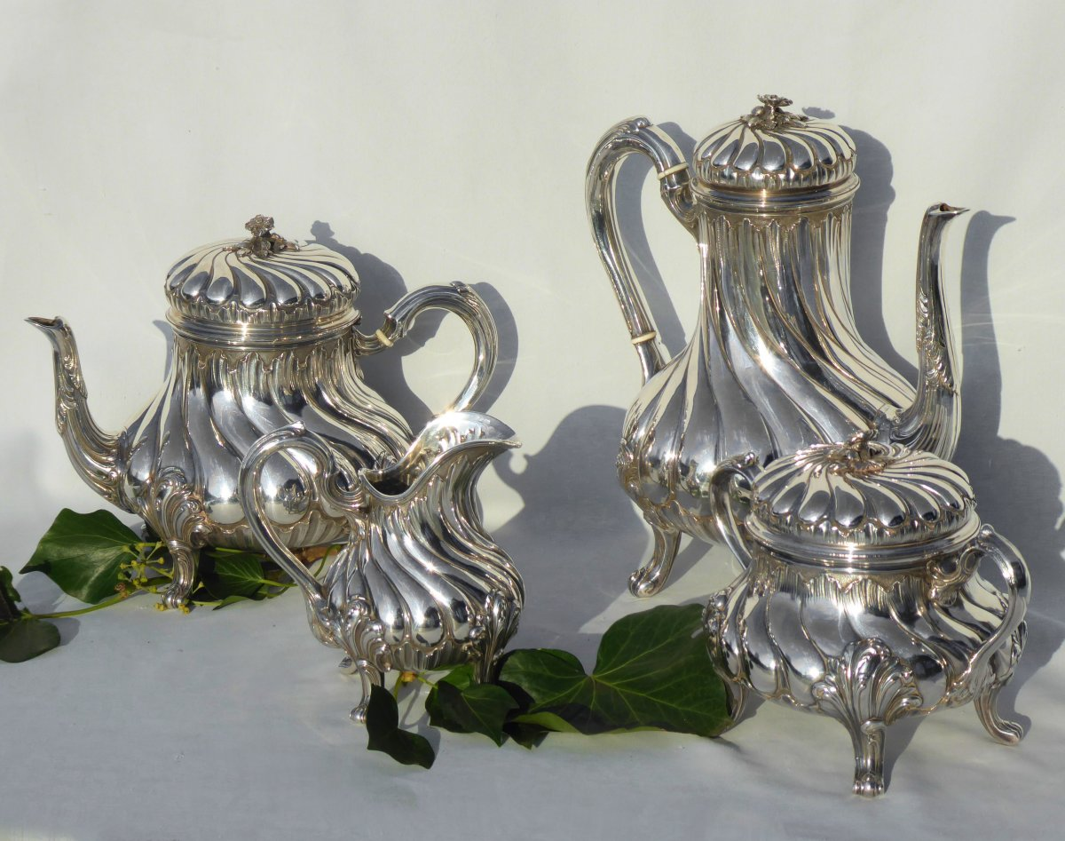 Tea / Coffee Service In Sterling Silver Tétard Frères Cafetiere Theiere Sucrier XIXth Louis XV-photo-2