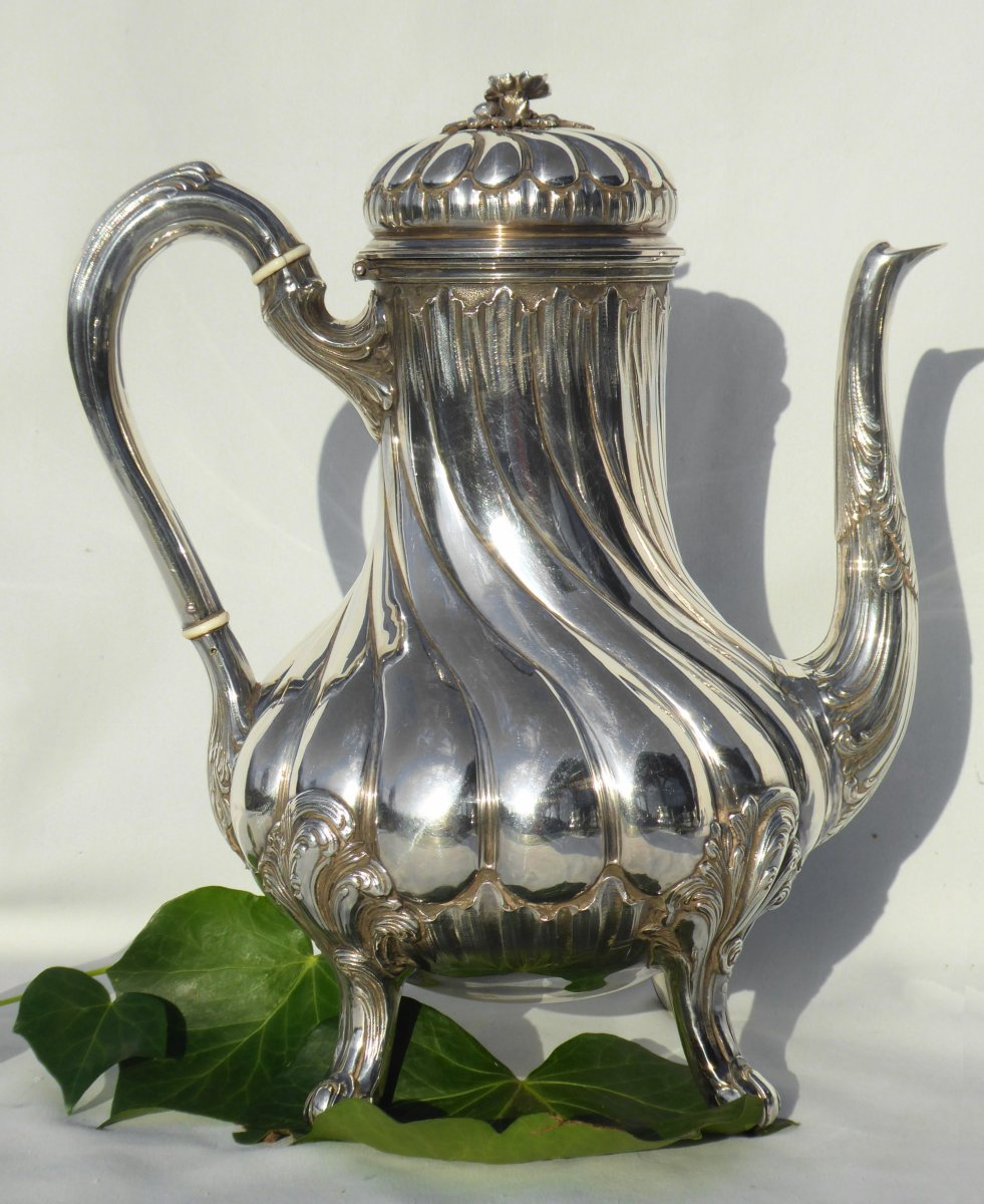 Tea / Coffee Service In Sterling Silver Tétard Frères Cafetiere Theiere Sucrier XIXth Louis XV-photo-3