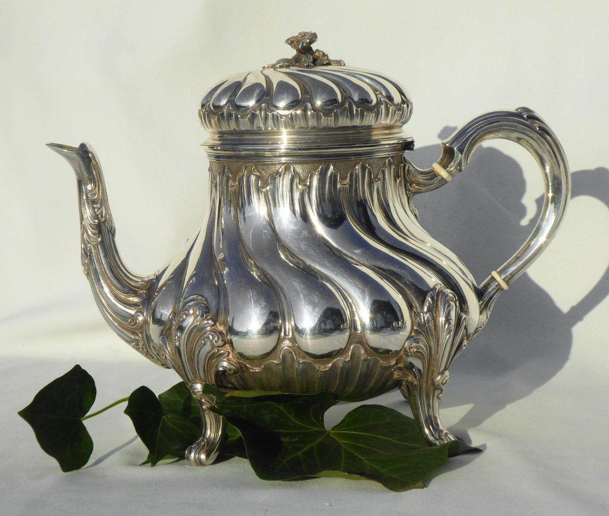 Tea / Coffee Service In Sterling Silver Tétard Frères Cafetiere Theiere Sucrier XIXth Louis XV-photo-4