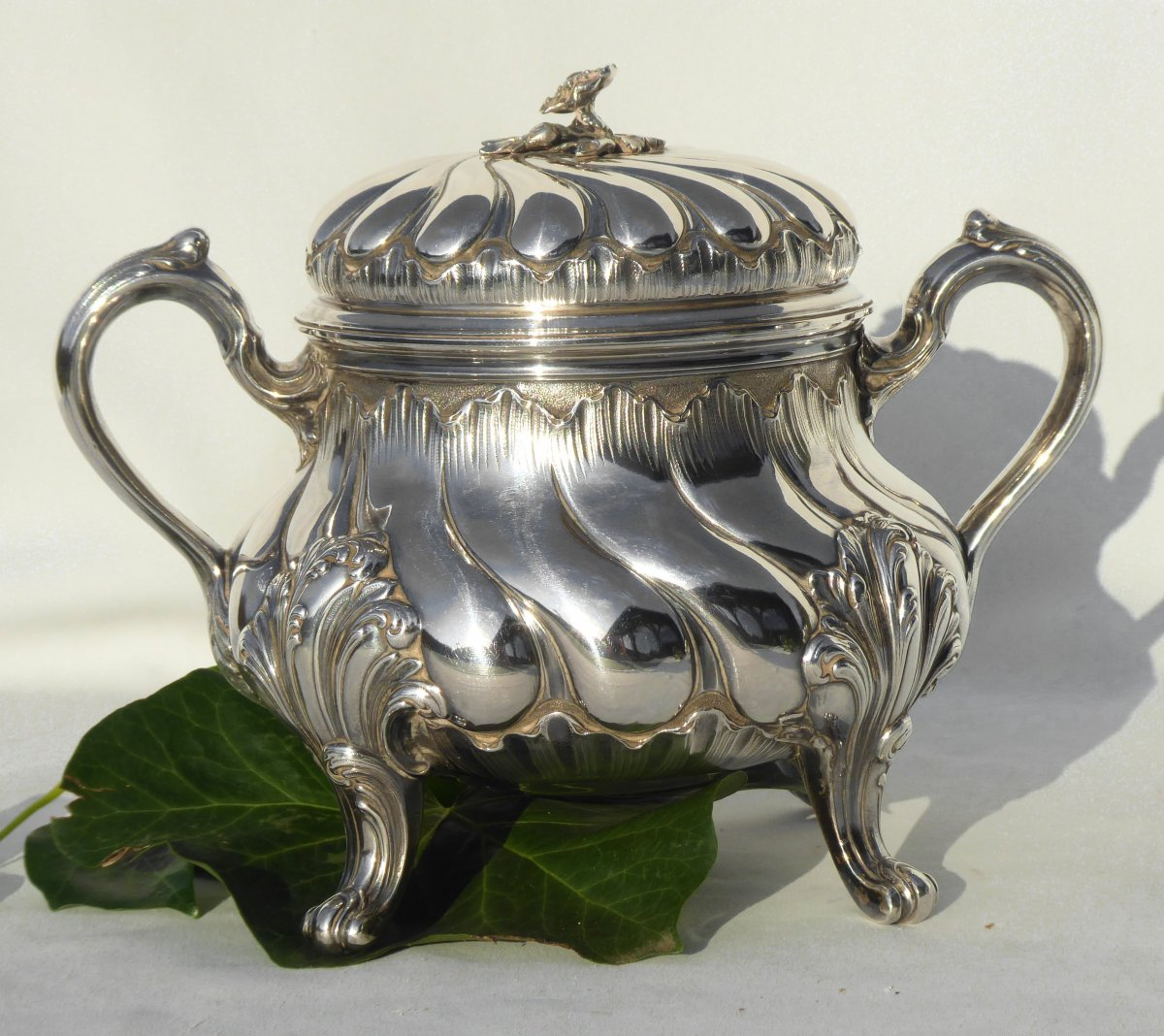 Tea / Coffee Service In Sterling Silver Tétard Frères Cafetiere Theiere Sucrier XIXth Louis XV-photo-1