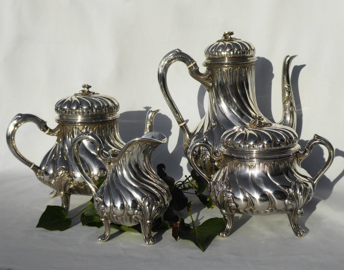 Tea / Coffee Service In Sterling Silver Tétard Frères Cafetiere Theiere Sucrier XIXth Louis XV-photo-5