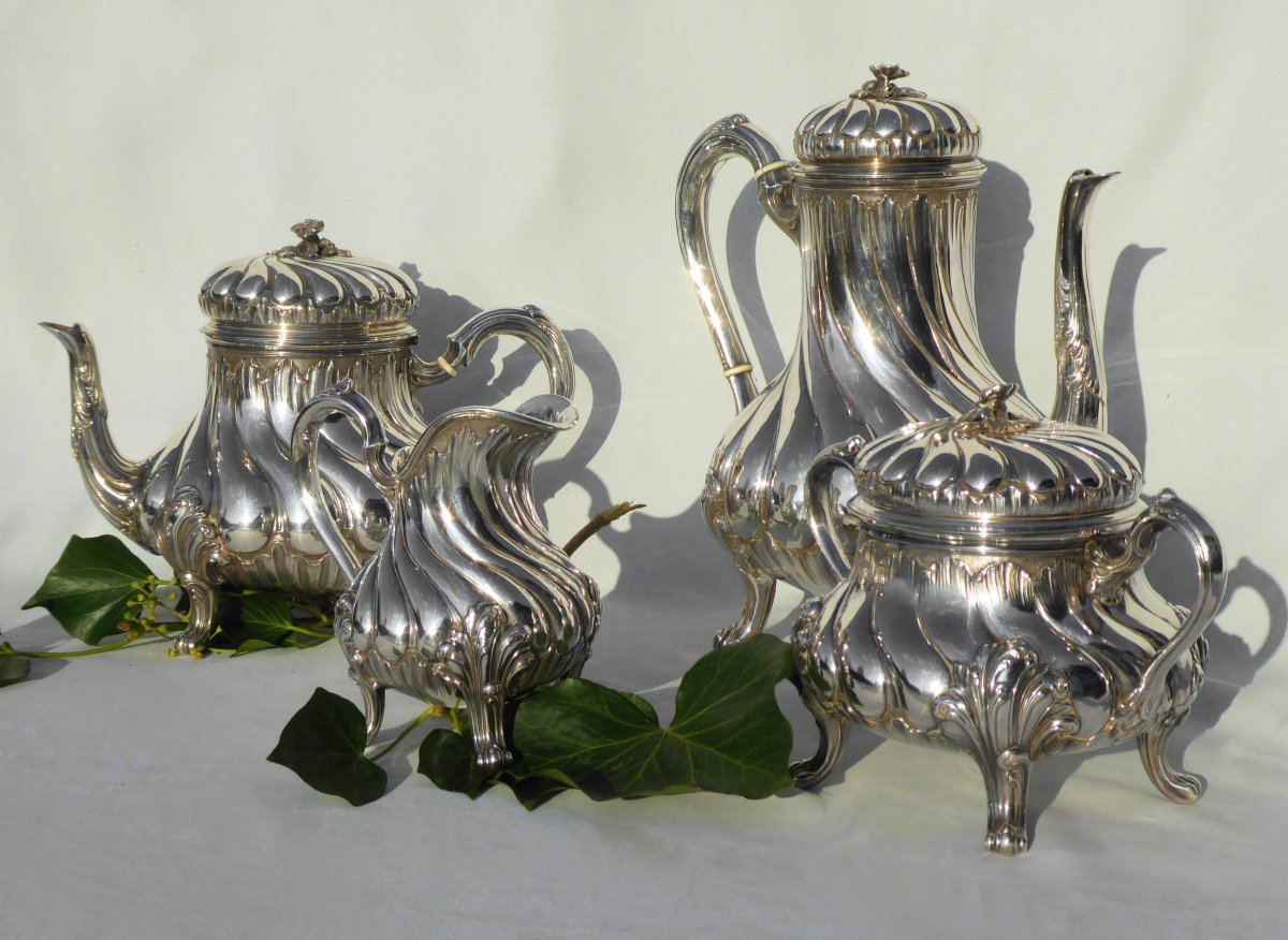 Tea / Coffee Service In Sterling Silver Tétard Frères Cafetiere Theiere Sucrier XIXth Louis XV