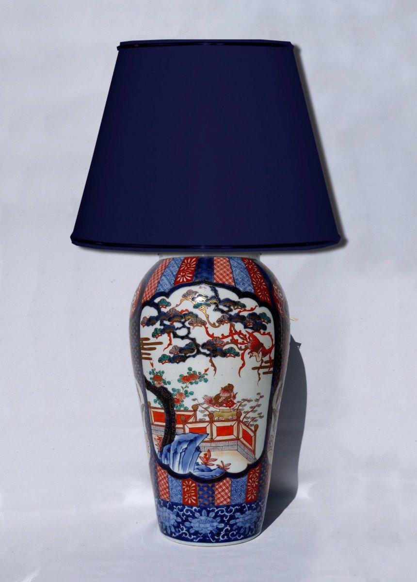 Grande Lampe De Table En Porcelaine Asiatique Imari Japon XIXe Vase Asie