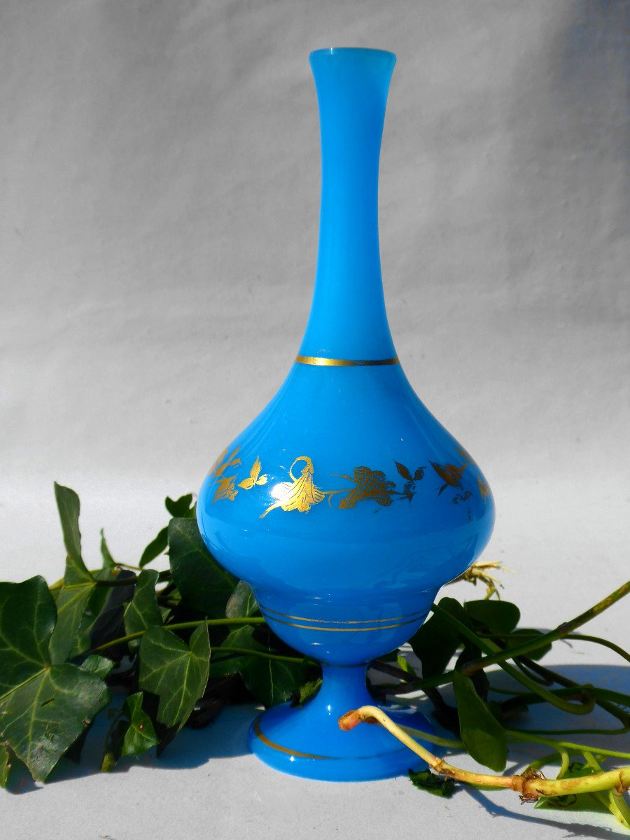 Soliflore Vase In Blue Opaline, Nineteenth Gilding, Louis Philippe / Charles X Blue Period