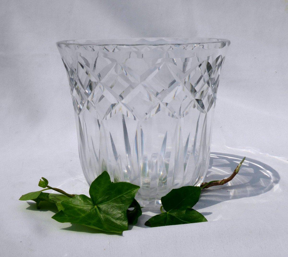 Grand Vase Mortier Cristal Taillé De Saint Louis , Signature à l'Acide époque 1930 Art Deco St