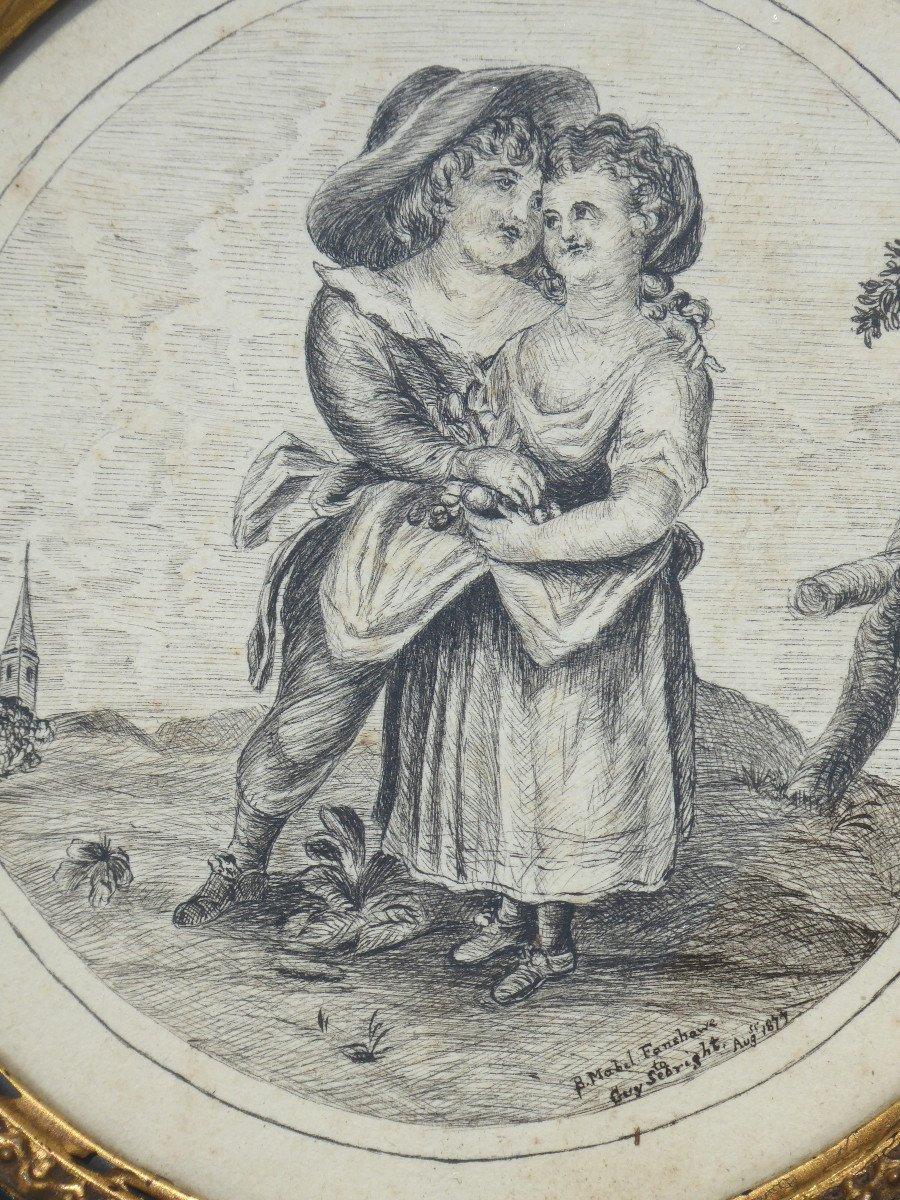 Chinese Ink Drawing, Napoleon III Period, Romantic Scene Nineteenth Frame Couple Of Children-photo-4